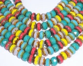 Czech Glass Rondelle 4x7mm Picasso Mix Red Blue Yellow Pink Turquoise CONFETTI (20)