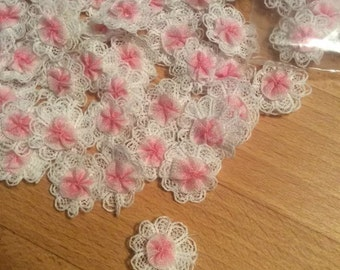 Vintage Pink & White Lace Rosettes x 100