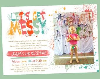 Messy Art/Rainbow Party Invitation - Photo Option