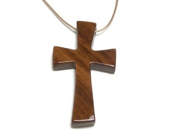 Men's Necklace -Minimalist Cross Pendant - Medium Cross Necklace - Walnut Hardwood - Gifts Under 20
