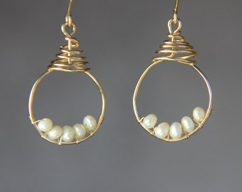 14k gold filled hoop scroll peral wiring earring handmade US free shipping Anni Designs