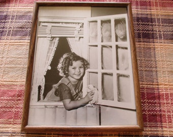 """Vintage Photograph Shirley Temple Washing Window Black and White Framed 8"""" x 10""""   - Paper Ephemera, Little Girl in Apron"""