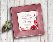Custom wedding invitation plate - unique gift idea - couples keepsake - gift for parents - marsala wine - fall wedding - couples keepsake