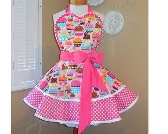 Cupcake Print Womans Retro Apron Accented With Pink and White Polka Dots