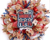 Mesh Wreath Patriotic, God Bless America Wreath, Red White Blue Wreath, 4th of July Wreath, July 4th Wreath, Rustic Wreath, Country Wreath