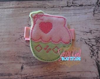 SALE-Holiday Girls Felt Hair Clip -Winter Mit-Hair Accessories--Embroidered Boutique Winter Glove-Felt Hair Clippie-No Slip Grip