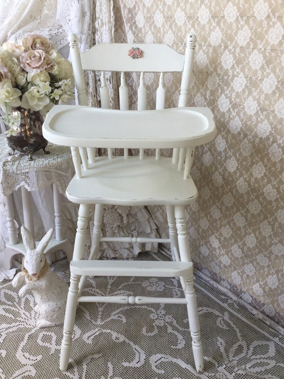 Reserved Shabby White Vintage Wooden High Chair Baby