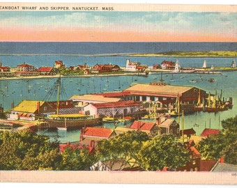 Linen Postcard, Nantucket, Massachusetts, Steamboat Wharf and Skipper, ca 1930