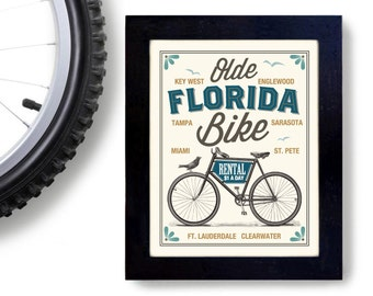 Bicycle Gift Florida Art Bike Rental Cycling Art Bicycle Enthusiast Bicyclist Gift Bike Rider Cyclist Outdoorsman Rides Bikes