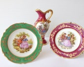 miniature porcelain limoges two plates and a jug with fragonard motives