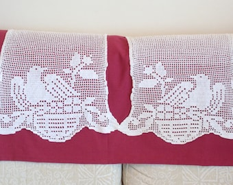 two vintage crochet covers with nesting bird , crochet birds cover, doily, armchair cover, vintage crochet, chair headrest cover,