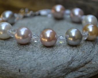 Glass Pearl & Swarovski Bracelet