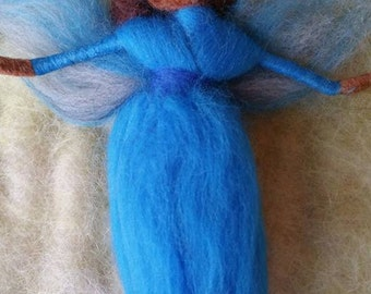 1 African American Fairy, Ethnic Needle Felted Fairiy, Blue Dress,  Rainbow of Colors, Walforf Inspired