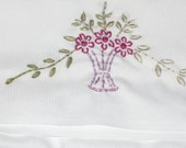FREE SHIPPING OOAK Hand Embroidered Pillow Cases Set of Two Purple Florals