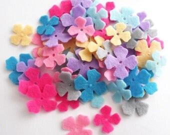 Felt Flower Mini, set of 56, Die Cut Shapes, Applique, Confetti, Party Supply, DIY Wedding