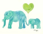 Digital File, Instant Download, Printable Art, Mom and Baby Elephant Watercolor Painting, 8x10