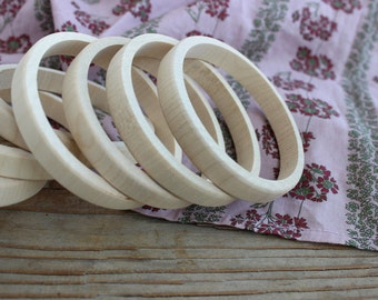 Wooden bangle unfinished / set of 5 stacking bangles /10 mm / natural wood simple bangle / party favors / wooden bracelet
