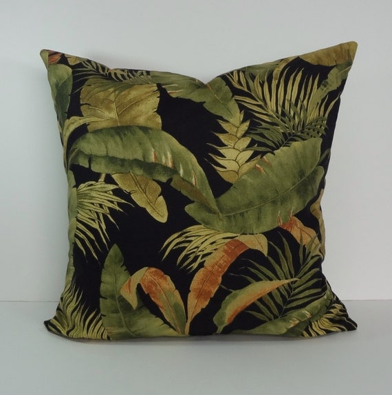 Tropical Decorative Pillow Cover Black Green Brown Throw