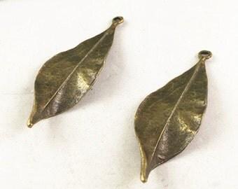 20pcs Antique Bronze Wavy Leaf Charm for Necklace Pendants 16x43mm G201-6