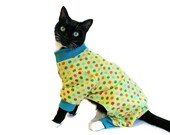 Cat Pajamas Cat Clothes Lime Green Polka Dot Knit Cat Pajamas cat clothes pet clothing cat clothing pet clothes