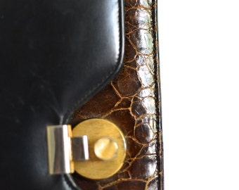 Vintage 1960s Mad Men Style Leather & Alligator Trim Accordion Purse - Palizzio Bag