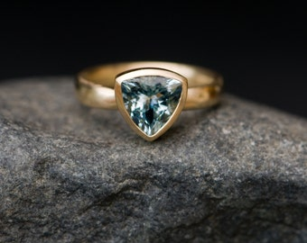 Blue Gemstone Engagement Ring - Aquamarine Set In 18K Yellow Gold - Gold Set Aquamarine Trillion Cut Ring - Ring size 6.5 - Free Shipping