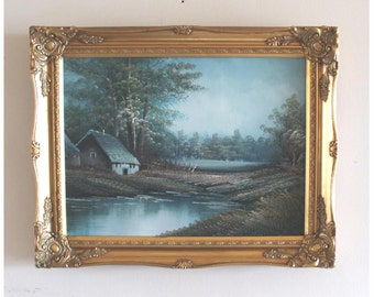 Country cottage. Original oil on canvas. Gilt Rococo frame