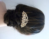 Wedding Bridal Hair Comb - Yellow Gold Plated Pearl Crystal Wedding Hair Accessories Bridal Hair Jewelry