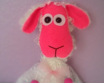 Mohair Little Lamb White Artist Bear Pink Stuffed Animal Plush Plushie Soft Softie Cute Ooak Gift Hand-sewn