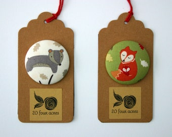 Fridge Magnets Set of 2 Badger and Fox Mama, Woodland Theme Fridge Magnets Fabric Button Magnet 45mm (1 7/8 inch)