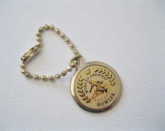 Vintage Keychain Key Fob - World's Greatest Bowler - Found Object - Vintage Supplies Bowling Award Keychain