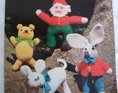 Vintage 70s Toy Gnome Teddy Lamb & March Hare Knitting Pattern Patons 1370  Double Knitting Original
