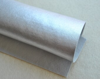 "8.5"" x 11.5"" Metallic Wool Blend Felt Sheet, Silver"