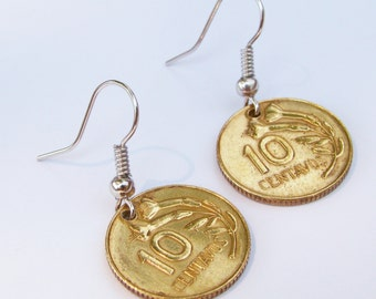 Peruvian Coin Earrings with Lily - Flower - Dangle Earrings