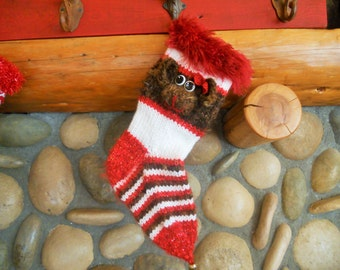 Hand Knit Monkey Christmas Stocking, Sock Monkey Stocking