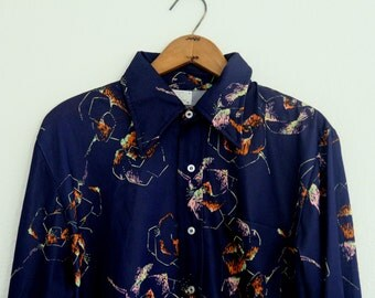 Vintage Mens Shirt Polyester Blue Di Fini Long Sleeve Disco Floral Pattern 1970s Large