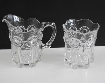EAPG Cream and Sugar Set- Antique Glass
