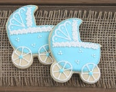 Baby Carriage / Baby Shower Favors / Gender Reveal Party Favors / Baby Shower Sugar Cookies / Bassinet Sugar Cookies - 12 cookies