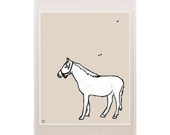 Farm Decor Horse Pony Art Illustration Drawing Nursery Art Kids Print Cartoon Pantone Modern Contemporary Hipster Kid Decor