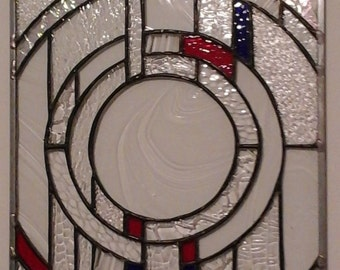 Frank Loyd Wright style clear and colored stained glass panel