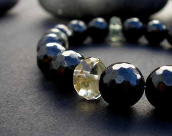 Natural Black Faceted Tourmaline 10mm Round Beads - Lemon Quartz AA Grade Faceted Rondelle Shape- 925 Sterling Silver Toggle Clasp Bracelet