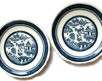 vintage indigo blue restaurant ware plates--Syracuse China indigo Asian design, ironstone