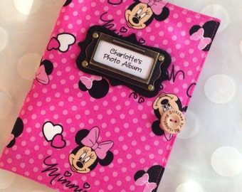 Photo Album Personalized Brag Book Minnie Mouse-Pink- 48 pictures