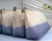 Set of 6 - Navy Clutch Purses, Burlap Clutches, Bohemian Bridesmaid Gifts, Ombre Wedding