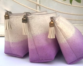 Lavender Ombre Clutch Purses, Bridesmaid Gifts, Wedding Clutches, Bohemian - Set of 3