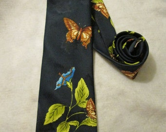 1950's or 60's Dark Blue BUTTERFLY NECKTIE by Made in California