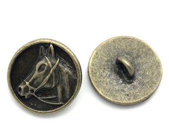 5 Round Buttons - Antique Bronze - Shanks - Carved Horse Head - 15mm - Ships IMMEDIATELY from California - A432