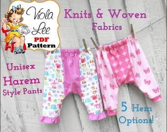 Harem Leggings Sewing Pattern. Toddler Leggings Pattern. Girl's Sewing Pattern. Toddler Sewing Pattern. Baby Pants Pattern. Baby Knit Pant
