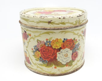 Vintage Golden Corsage Body Powder Tin with Roses, Gardenia Powder