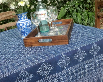 Hmong Indigo Batik Table Cloth, Naturally Dyed Cotton, Rectangle 3 sizes